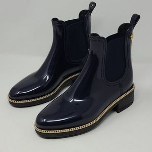 Lemon Jelly Glossy Blue Rain Ankle Chelsea Boots